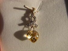 Citrine Heart Cut and Diamond Pendant 10KT Yellow Gold
