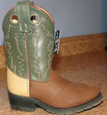 Brand New Double H Tan/Green Leather Cowboy Boots Childs SIze 9