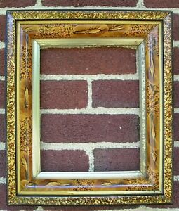 Antique Victorian Eastlake Faux Tortoise Black Aged Gilt Picture Frame 8 x 10