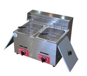 New 20L Commercial Countertop Gas Fryer 2 Baskets KLD-71 Propane(LPG)