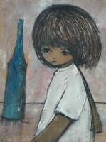 Illegibly Signed 1971 Mid Century Oil On Canvas of Big Eyed Girl