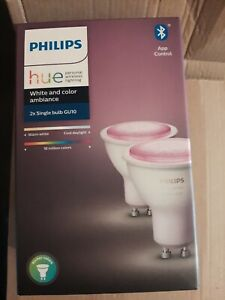 2x Philips hue Gu10 colour bulbs NEW Bluetooth model.