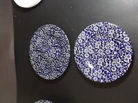 Queen's China Calico Blue salad plate and bread & butter plate
