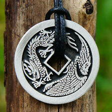 Lucky Coin Chinese Money Dragon/Phoenix Pewter Pendant W adjustable necklace