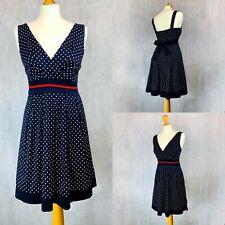 Izabel London Dress Fifties Polka Dot Navy Blue Rockabilly Tea Dress PinUp Retro