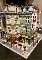 LEGO CUSTOM MODULAR LARGE CORNER BUILDING HOTEL CAFE fits with 10185 MOC 550