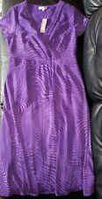 BNWT MARKS & SPENCER UK PER UNA  WOMENS SMART DRESS SIZE 16 LONG PURPLE PRINT