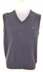 TOMMY HILFIGER Boys Vest Tank Top 13-14 Years Navy Blue Cotton AT06