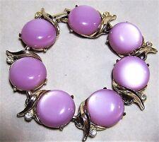 Mid Century Lavender Purple Lucite Moonglow Bracelet Rhinestone Highlights 217