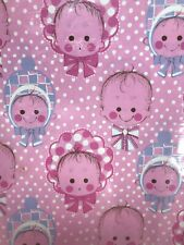 New ListingHallmark Baby Girl Gift Wrap Wrapping Paper 1970's Vintage New