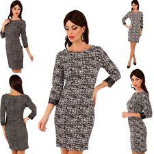 Damen Kleid Businesskleid Lederlook Ärmel Knielang Zip, Gr. S/M 34/36/38