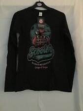 Gildan Scooter Classic Motorcycle Long Sleeve Black Top Womens Size Small Bnwt