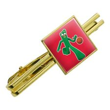 Sporty Gumby Basketball Player Clay Art Square Tie Bar Clip Clasp Silver or Gold