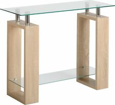 Seconique Milan Console Table Glass Sonoma Oak Effect Veneer/clear/silver