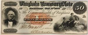 1862 Richmond, VA - Virginia Treasury Note $50 Obsolete Bank Note