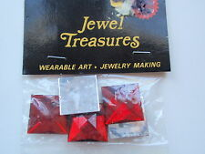 Jewel Treasures Wearable Art Red Square Faceted Beads Glue Craft Embellishments