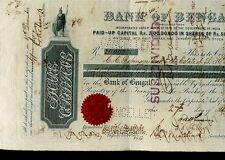 ACTION BANQUE BANK OF BENGAL 1896 INDE RARE