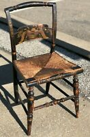 "Antique Vintage 33"" Hitchcock Federal Eagle Painted Woven Rush Seat Dining Chair"