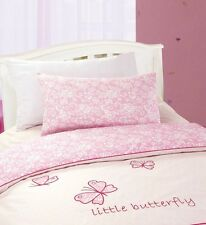COT BED SIZE JUNIOR GIRLS BEDDING QUILT COVER SET PINK BUTTERFLY THEMED DESIGN