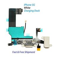 New Charging Port Dock Connector with Flex Cable for Apple iPhone 5 5G White