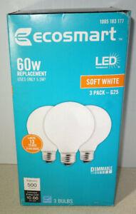 3 EcoSmart G25 60W 60 Watt Equivalent LED Globe Light Bulb Soft White Dimmable