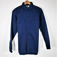 Vintage DEADSTOCK Sears Blue Twill Work Shirt NOS Perma Prest Button Up Men's M