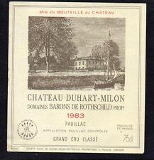 PAUILLAC GCC ETIQUETTE DUHART MILON ROTHSCHILD 1983 75 CL  §11/09§