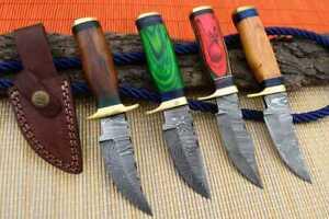 """6"""" MH KNIVES CUSTOM HANDMADE DAMASCUS STEEL LOT OF 4 HUNTING/SKINNER KNIFE LOT1H"""