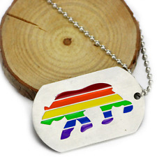 Bear Rainbow Pidr Necklace Cutout Double Dog Tag Pendants LGBT Gay Lesbian Gift