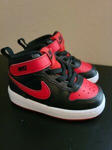 NIKE AIR COURT BOROUGH MID INFANT BLACK/UNIVERSITY RED SIZE 6C NEW WITHOUT TAGS
