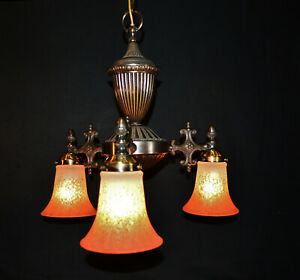 Elegant mid 50s bronze brass Italian designer chandelier ribbed tinted shades