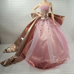 EVENING W ~ BARBIE DOLL MODEL MUSE 2009 HOLIDAY METALLIC PINK TULLE DRESS GOWN