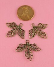 ANT BRASS 3 LEAF BEADED FILIGREE CHARM - 2 PC(s)