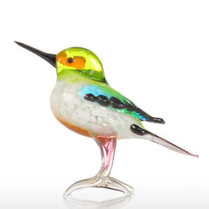 Tooarts Tiny Bird Gift Glass Ornament Animal Figurine Handblown Home Decor W9E0
