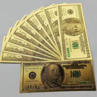 10pcs 1:1 24k Gold Foil Golden USD $100 dollar Paper Money Banknotes Crafts Hot