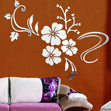 3D Mirror Flower Art Removable Wall Sticker Acrylic Mural Decal Home Decor Hot