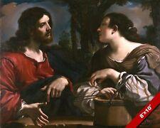JESUS CHRIST & SAMARITAN WOMAN AT THE WELL PAINTING BIBLE ART CANVAS PRINT
