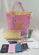 Clinique 12 Piece Set Tote Cosmetic Bag Scrub Remover Eye Shadow Eye Cream