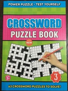 CROSSWORD Puzzle Book with 63 Challenging Crosswords to Solve A5 Travel Size