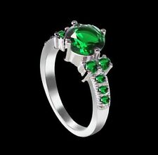 New 18K White Gold-Plated Exquisite Emerald Ring Size 6 - see what's free!
