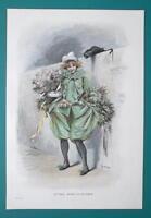 LOVELY GIRL Return from Ball Black Cat Flowers - VICTORIAN Color Era Print