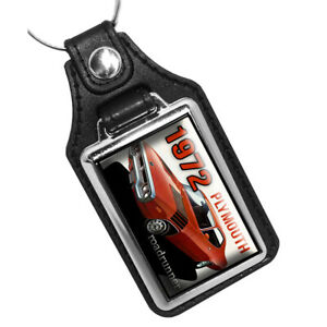 1972 Plymouth Roadrunner Red Black Muscle Car Design Faux Leather Key Ring