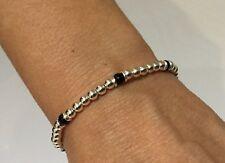 Sterling Silver Bead Bracelet with Hematite Gemstone beads Handmade in UK