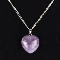 Women .925 Sterling Silver Necklace Chain Amethyst Crystal Heart Purple Pendant