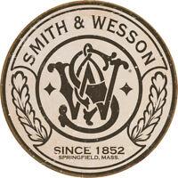 """Tin Signs S&W Round Logo 1608 11 3/4"""" diameter."""