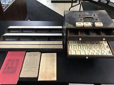 Foster Mah Jong 1923 Game 2-toned Ivory Tiles Vanity Fair Wood Case MahJong