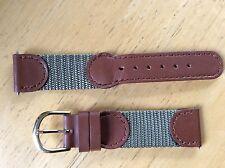 NEW SPEIDEL WATCH BAND BRACELET- Leather & Nylon 19mm 390R Brown & Grey SPORT