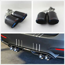 Real Carbon Fiber 63-89mm Auto Car Left Side Dual Pipe Exhaust Muffler Tail Pipe