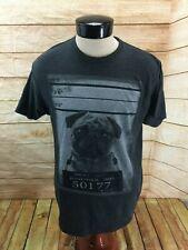 The Raw Pug Puggle Mug Shot T-Shirt Graphic Tee Mens L Gray
