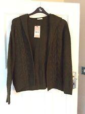 BNWT Ladies Size 16 Khaki Long Sleeve Hooded Chunky Knit Open Cardigan